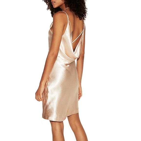 2488b84f082c Express Dresses | Metallic Satin Cowl Back Slip Dress Gold | Poshmark